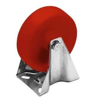 Bockrolle, PA6-rot, 125 mm, mit VA-Gehäuse
