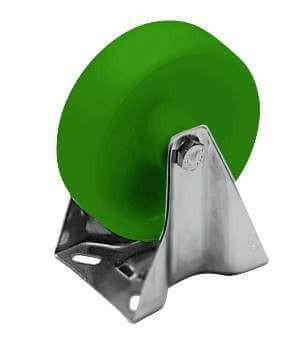 Bockrolle, PA6-grün, 125 mm, mit VA-Gehäuse