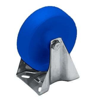 Bockrolle, PA blau, 150 mm, mit VA-Gehäuse